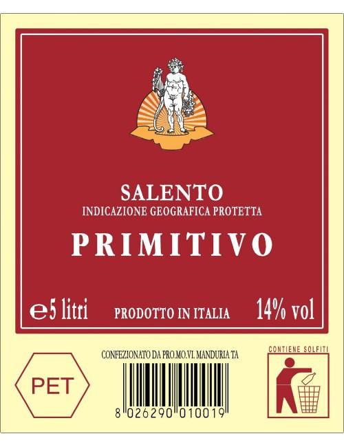 P.E.T. 5 LT VINO ROSSO IGP SAL.PRIMITIVO 14.00%VOL