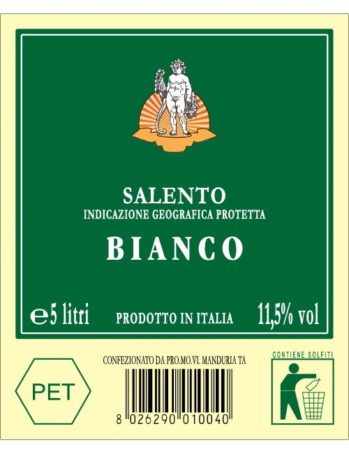 P.E.T. 5 L VINO IGP SALENTO BIANCO 11.50%VOL
